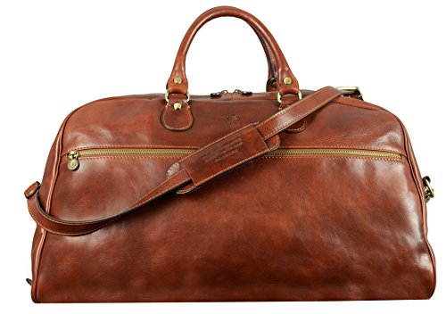 Full Grain Leather Duffel Bag, Weekend Bag, Overnight, Gym Bag, Unisex, Brown, Medium - Time Resistance by Time Resistance