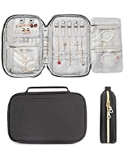 ILOVA Jewelry Organizer, Travel Clutch Bag for Earrings, Necklaces, Bracelets, Watches (Black)