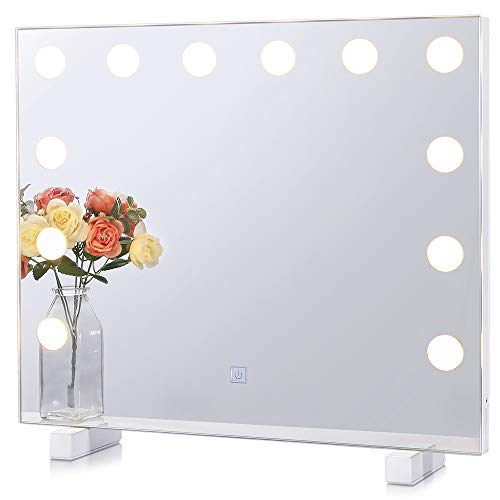 Chende Dimmable Lighted Vanity Mirror for Wall with 3 Color Changing, Frameless -