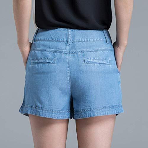 Blau Adelina Botón Mezclilla Ropa Pantalones Con Mujer Sólido Cintura Recta De Cortos Media Vaqueros Color Bolsillos Delanteros Para Pierna qwUOqACr