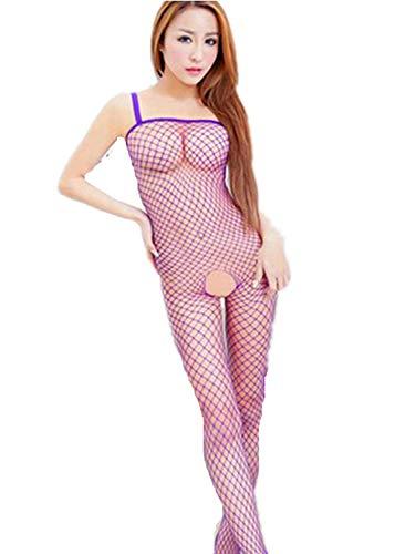 YFancy Women Fashion Alluring Charming Fishnet Bodystocking Babydoll Lingerie Chemise Sleeveless Nightwear Solid Color Purple