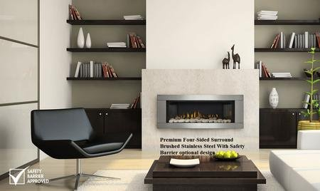 "Napoleon Vector 45"" LHD45NSB Direct Vent Fireplace with Modern Linear Design 24 000 BTUs and CRYSTALINE Ember Bed: Natural"
