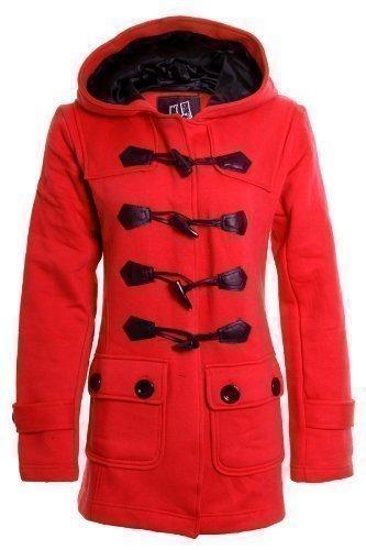 Fantasia - Damen Mantel Jacke Trenchcoat mit Kapuze und Taschen Rot