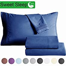 "SAKIAO King Size Bed Sheets Set - Brushed Microfiber 1800 Thread Count Percale - 16"" Deep Pocket Egyptian Sheets Beautiful Breathable Wrinkle Free & Fade Resistant - 4 Piece (Navy Blue,King)"