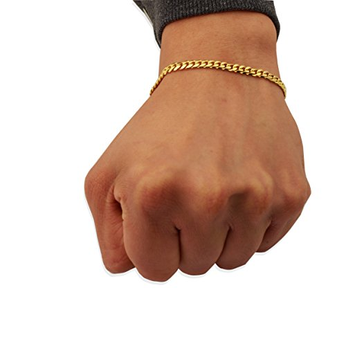 - Mr. Bling 14K Yellow Gold 4mm Solid Miami Cuban Bracelet with Lobster Lock (8