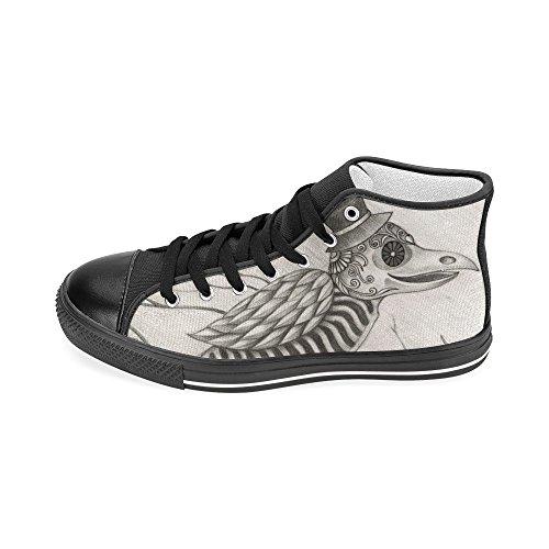 D-story Personalizzato Cranio Uccello Surreale Giorno Del Morto Mens Classico High Top Scarpe Di Tela Moda Sneaker