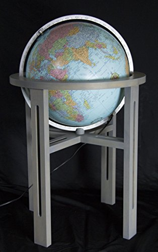 Replogle Mission Hand Covered Blue Illuminated Heirloom globe, Silver Ring and Maple Wood Stand with Grey finish, Floor Model Globe (20''/50cm diameter) by Replogle