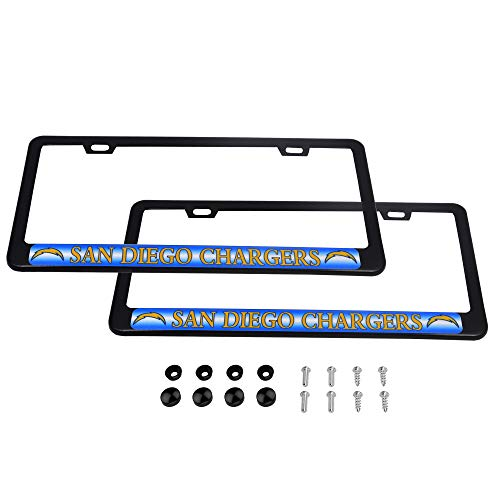 CHNNFC 2 Pack Luxury Stainless Steel License Plate Frame and Colored Auto Emblem (San Diego Chargers)