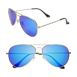 "PRIVÉ REVAUX ""The Commando"" Polarized Aviator Sunglasses - Handcrafted Designer Eyewear For Men & Women (Gold)"