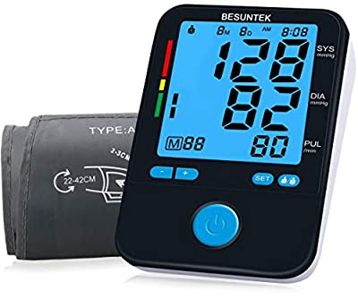 BESUNTEK Blood Pressure Monitor Cuff Kit by Balance, Digital BP Meter with Large Display and Pulse Rate for Home Use, Upper Arm Cuff, Set Also Comes with Tubing and Device Bag.
