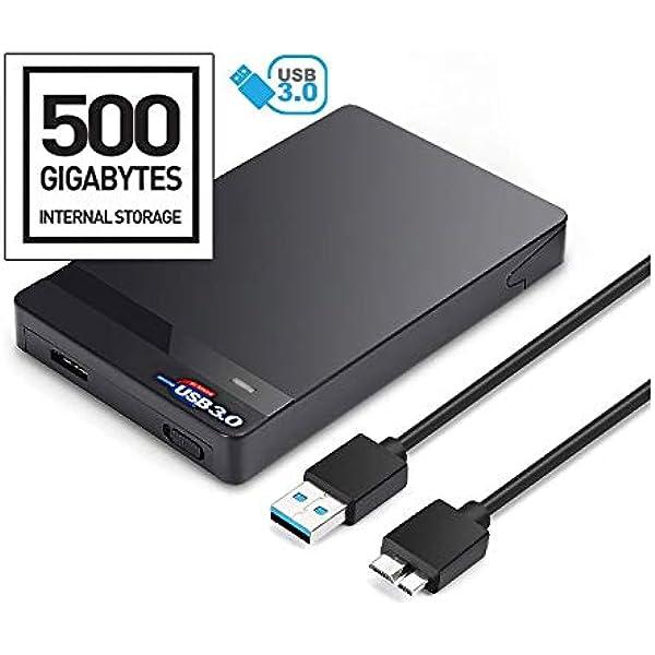 Disco Duro Externo portátil de 500 GB de 2,5 Pulgadas USB 3.0/2.0 ...
