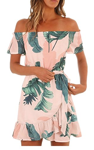 Dress Jaycargogo Women Shoulder Off Casual Summer Strapless Sexy Floral White Beach Print ZHqFvcwZg