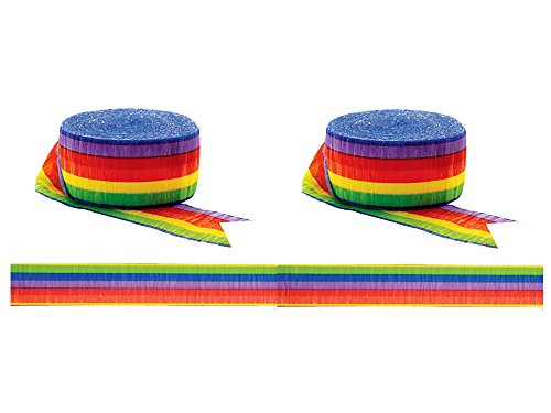 Amscan Set of 2 81ft Rainbow Crepe Paper Streamer bundled by Maven Gifts