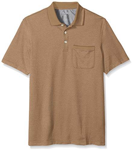 Van Heusen Men's Big and Tall Flex Short Sleeve Stretch Solid Polo Shirt, Khaki Squirrel, 3X-Large