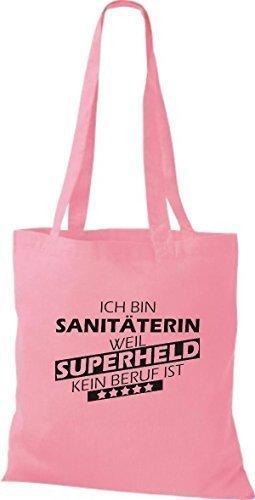 shirtstown Borsa di stoffa SONO sanitäterin, WEIL supereroe NESSUN lavoro è Rosa