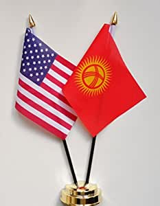 """United States of America & Kyrgyzstan Friendship Table Flag Display 25cm (10"""")"""