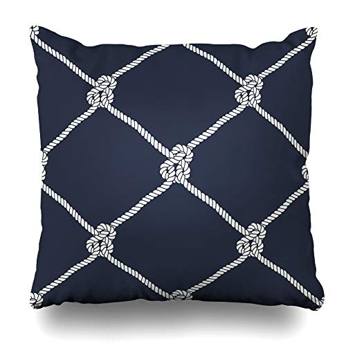 (Ahawoso Throw Pillow Cover Square 20x20 Inches Nautical Rope Endless Navy with White Fishing Net Marine Knots On Dark Blue Trendy Maritime Style Decorative Pillow Case Home Decor)
