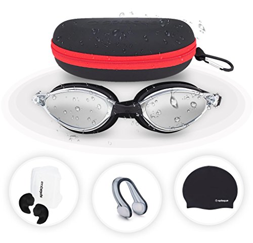Splaqua 5 Piece Swimming Gear Set: Mirrored Goggles, Swim Cap, Ear Plugs, Nose Clip & Waterproof EVA Case -
