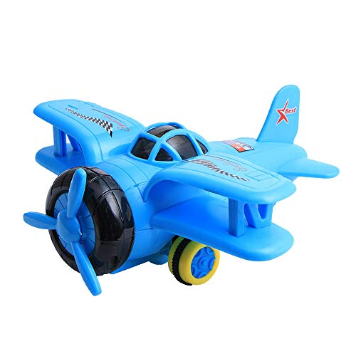 Mini Friction Powered Airplanes with Lights and Air Plane Sounds - Toy Travel Set Planes for Toddler Kids (Blue)