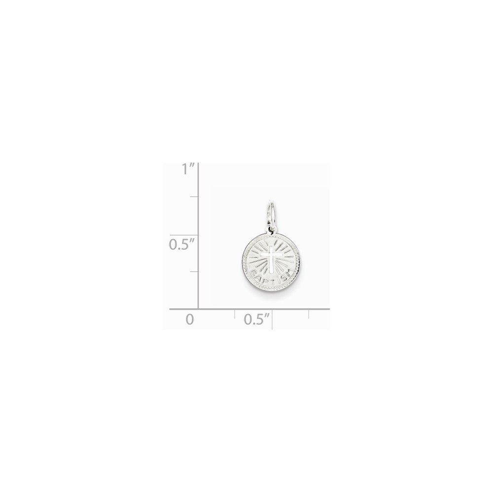 18 Mireval Sterling Silver Baptism Disc Charm on a Sterling Silver Carded Box Chain Necklace