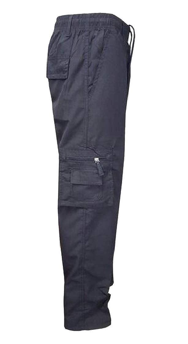Hajotrawa Mens Elastic Waist Multi Pocket Drawstring Classic Zip Up Straight Cargo Pants