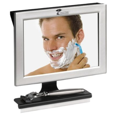 Fogless Shower Mirror with Squeegee by ToiletTree Products. Guaranteed Not to Fog, Designed Not to Fall. (Silver)