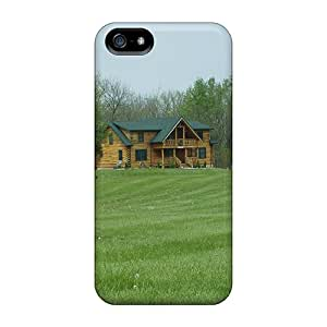 For LAZO Diamond Iphone Protective Case, High Quality For Iphone 5/5s Beautiful Log Home Skin Case Cover