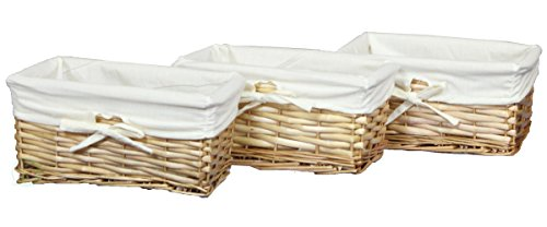 Vintiquewise Willow Shelf Basket Lined with White Lining (Set of 3 Small Baskets)