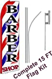 NEOPlex - ''Barber Shop (Extra Wide)'' Complete Flag Kit - Includes 12' Swooper Feather Business Flag With 15-foot Anodized Aluminum Flagpole AND Ground Spike