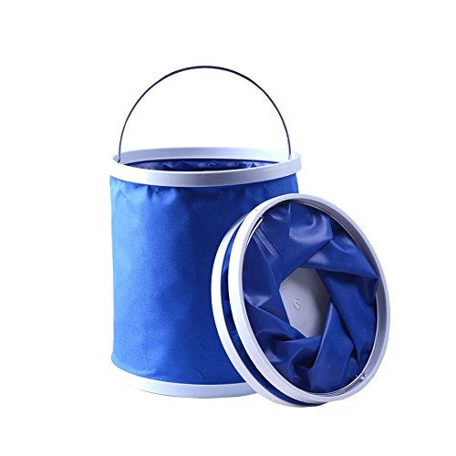 (Multi-Purpose Folding Sturdy Collapsible Canvas Water Bucket Portable Water Container - Lightweight & Durable Save Space Convenient for Camping, Fishing, Storaging Outdoors and Indoors)