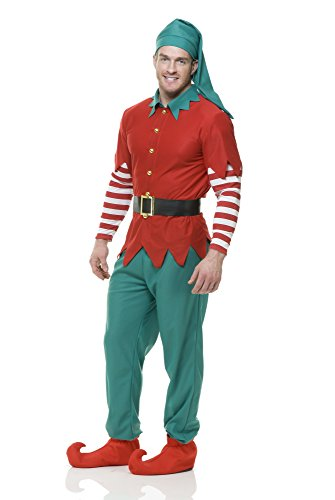 Charades Elf Top Pants Hat and Belt, red/Green,