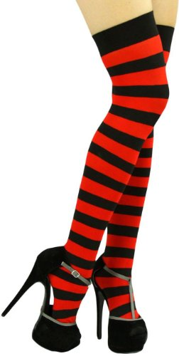 ToBeInStyle Women's Wide Vertical Striped Thigh Hi Stockings Free, Black Red (Red Opaque Thigh High Stockings)