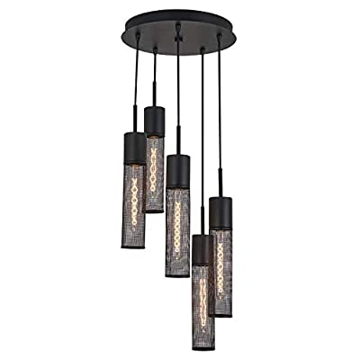 Artika MTN5L-HD1 Milton 5-Pendant Spiral Incandescent Light Fixture with a Metal Mesh Shade and an Industrial Design, Bulbs Included, Black