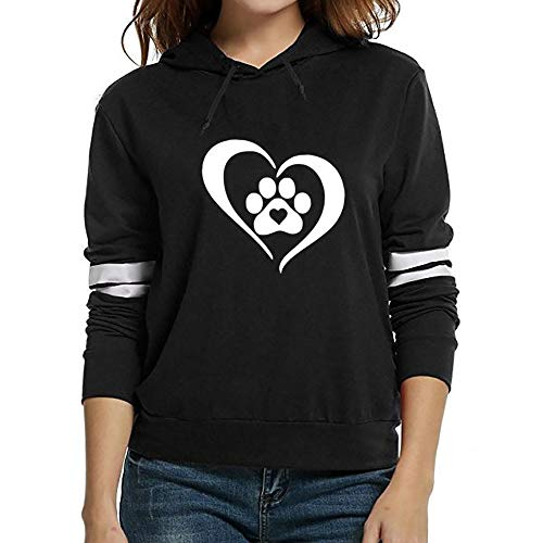 (Sunhusing Womens Dog Claw Love Heart Print Hooded Sweater Drawstring Long Sleeve Pullover Top)