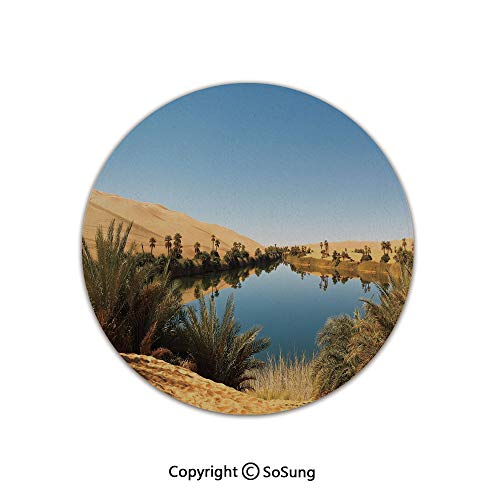 Desert Round Area Rug,Idyllic Oasis Awbari Sand Sea Sahara Libya Pond Lush Arid Country,for Living Room Bedroom Dining Room,Round 4'x 4',Light Blue Green Sand Brown