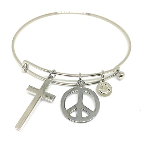lucky-bangle-bracelet-cross-peace-sign-love-and-emoji
