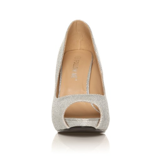 TIA - Chaussures à talons aiguilles - Plateforme - Bout ouvert - Argent - Effet pailleté