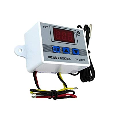 COVVY XH-W3002 Digital Temperature Controller Pre-Wired Thermostat with Waterproof Sensor Probe,2 Stage Heating and Cooling Mode 110-220VAC Temp Controller