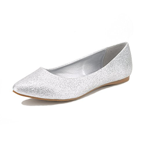DREAM PAIRS Sole Classic Women's Casual Pointed Toe Ballet Comfort Soft Slip On Flats Shoes Silver Glitter Size 8