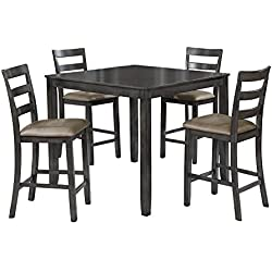 HOMES: Inside + Out IDF-3331GY-PT-5PK Robert Transitional 5-Piece Counter-Height Dining Set, Gray