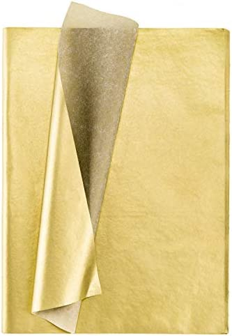 Whaline Gold Tissue Paper Bulk 100 Tissue Paper Sheets Metallic Gift Wrapping Paper Gold Gift Wrap Tissue Paper for DIY Crafts Weddings Birthday Showers Arts Craft Party Favor Decoration