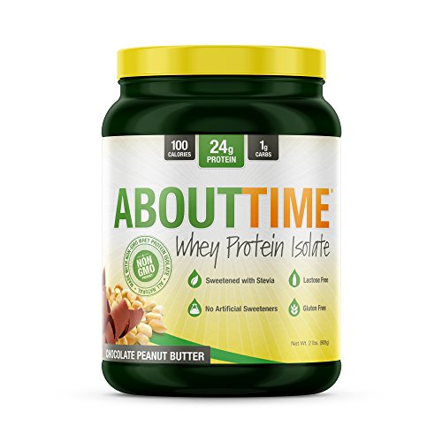 About Time Whey Isolate Protein, Non-GMO, All Natural, Lactose/Gluten Free, 24g of Protein Per Serving (Chocolate Peanut Butter - 2 Pounds) (Butter Cake Peanut Chocolate)
