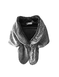 Forart Women's Faux Fur Bridal Wedding Shawl and Wraps Party Evening Fur Stole