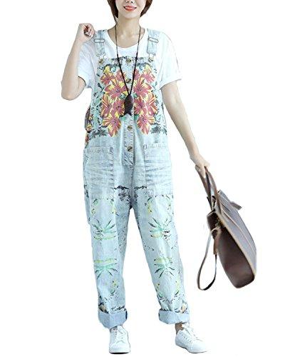 Floral Vintage Bib (Aeneontrue Women's Casual Floral Denim Wide Leg Bib Overalls Pants Front Buttons Open (L, Style1_Light Blue))