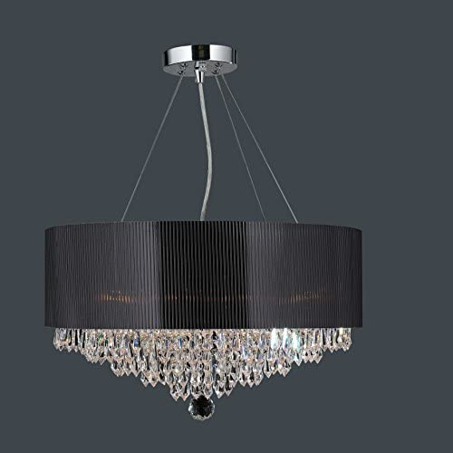 Gatsby Collection 8 Light Chrome Finish and Black Blown Glass Chandelier