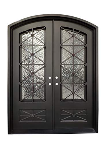 Wrought Iron Glass Doors - Bedford Exterior Front Entry Door Wrought Iron with Operable Tempered Cubit Glass 72