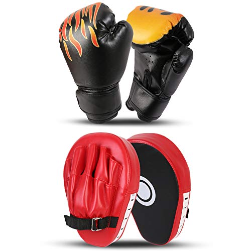 Odoland 2-in-1 Boxing Gloves and Punching Mitts Set for Kids, Boxing Mitts Focus Pads, Kids Boxing Fight Gloves for…