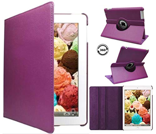 iPad Case Cover Rotating Stand with Wake Up / Sleep Function For Apple iPad Air 1st Generation Compatible models; MD785LL/A , MD876LL/A , ME906LL/A or A1474 , A1475 , A1476 ( Purple ) (Cover 1st Ipad For Generation)