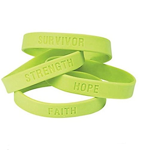 Fun Express 50 Lime Green Awareness Sayings Bracelets, Lymphoma, Lyme Disease, Muscular Dystrophy, Mental Health