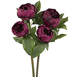 "Rinlong 2pcs Burgundy Artificial Peonies 22"" Real Touch Vintage Silk Peony Wedding Flowers Stems for DIY Floral Arrangements Home Decor Bridal Bouquet 34"